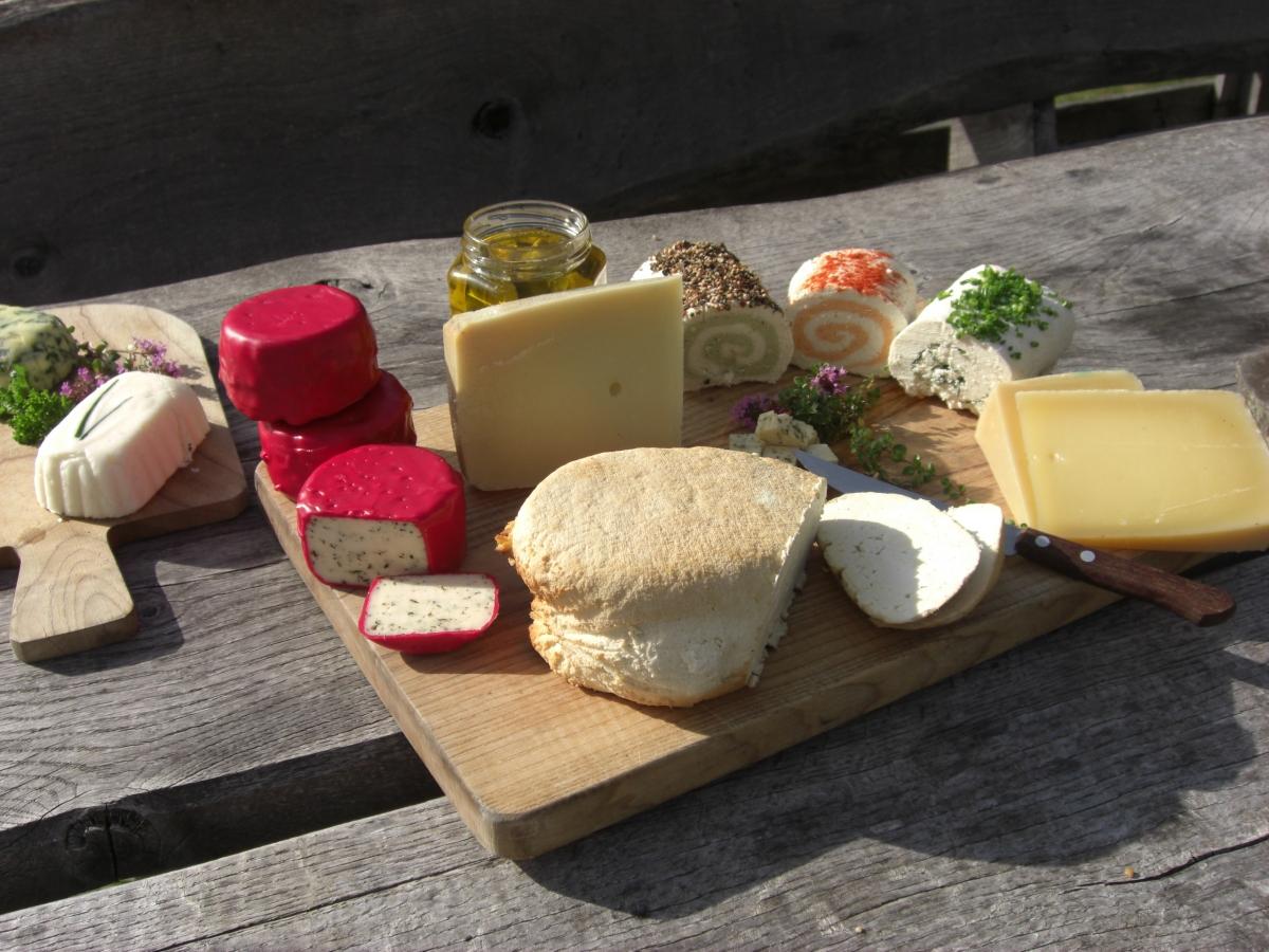 Käsesortiment und Butter Gailtaler Almkäse Straniger Alm
